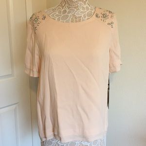 Blush Blouse with Beaded Sleeve Detail
